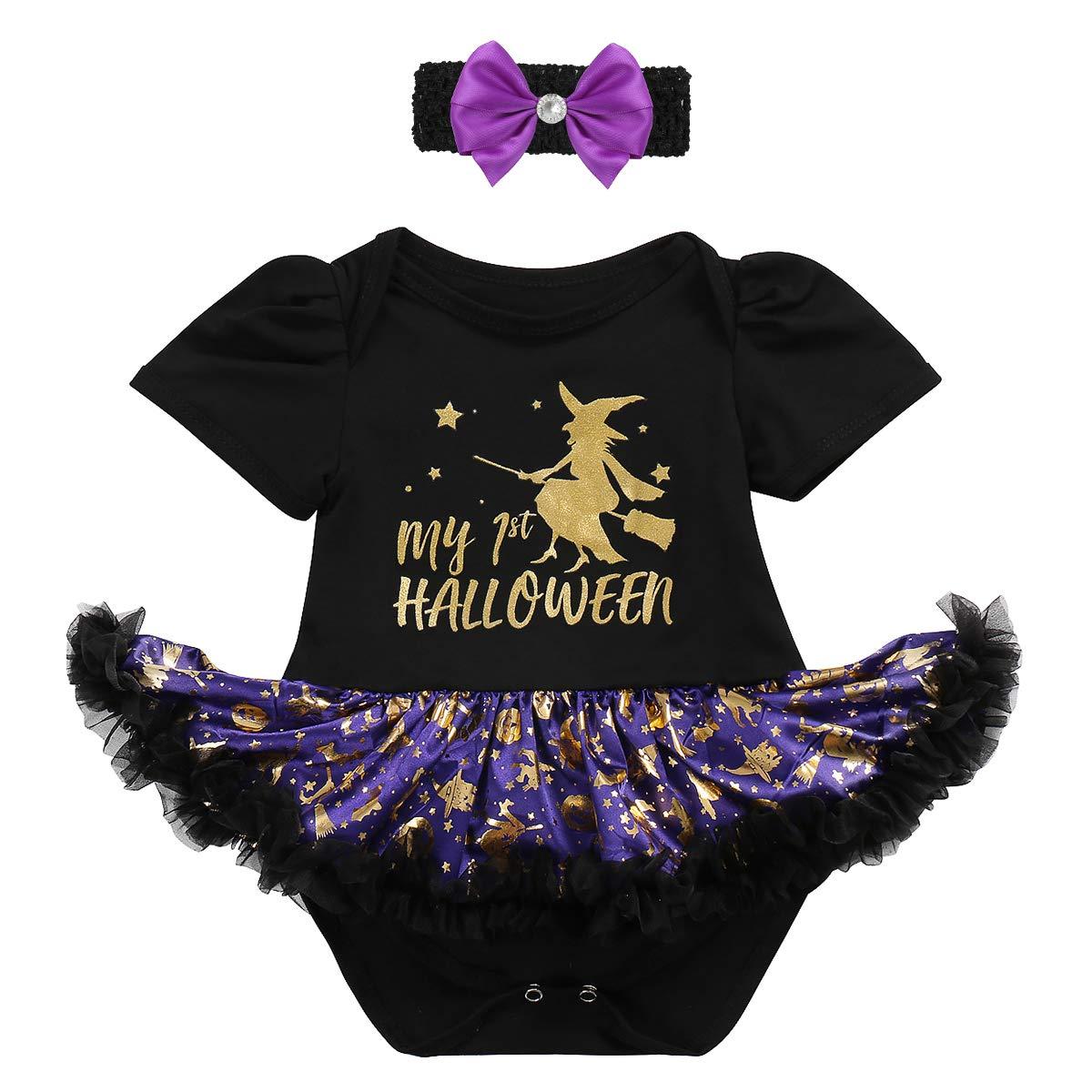 991196e9f8f1 Amazon.com  My 1st Halloween Baby Girls Romper Dress+Headband+Shoes Tutu  Outfit Fancy Dress Party Costume 2 3Pcs Set Infant Clothes  Clothing