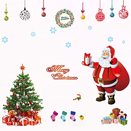 amidaky christmas window stickers wall decals removable tree mural diy home festival decor holiday wall door - Christmas Window Decorations Amazon