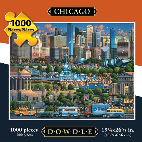 Jigsaw Puzzle - Chicago 1000 Pc By Dowdle Folk - Map Gate Fountain