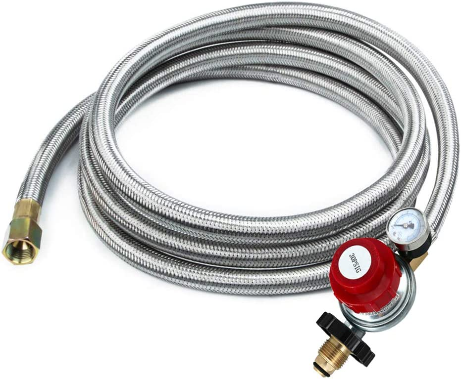 12 Feet High Pressure Adjustable Propane Regulator 0-30 PSI with Gauge/Indicator, Stainless Steel Braided Hose, Gas Grill LP Regulator for for Forge/Foundry, Food Truck, Fryer, Grill, Smoker