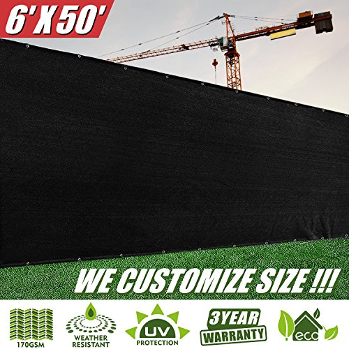 ColourTree 6' x 50' Fence Screen Privacy Screen Black - Commercial Grade 150 GSM - Heavy Duty - 3 Years Warranty (1)