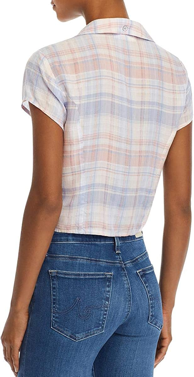 Bella Dahl Womens Plaid Tie-Front Button-Down Top