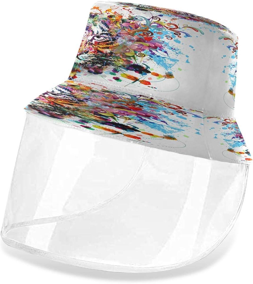 ALARGE - Gorro de pescador con diseño de tigre abstracto en acuarela, antipolvo, sol, UV, con máscara de protección facial extraíble, para hombres y mujeres al aire libre