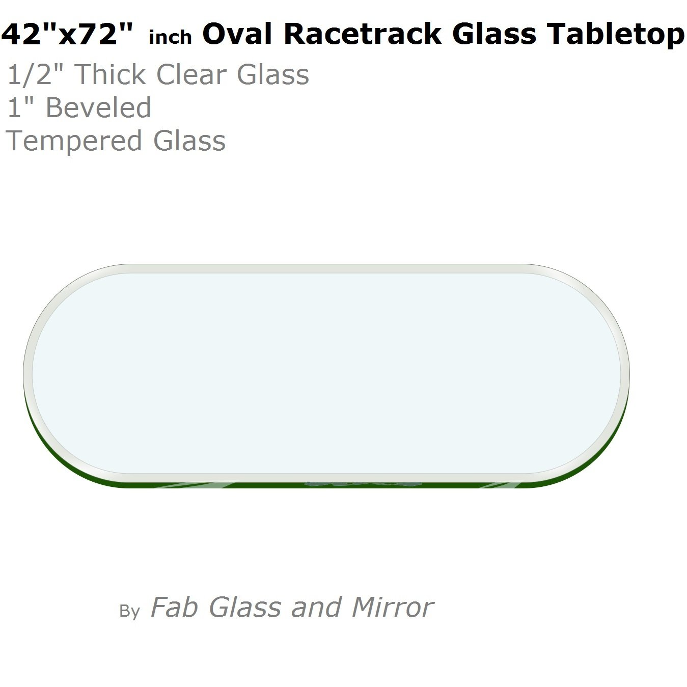 "42"" x 72""  Racetrack Oval Glass Table Top"