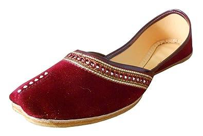 KALRA Creations Damen Traditionelle indische Samt Party Schuhe, Rot - rot - Größe: 37 EU Kalra Creations