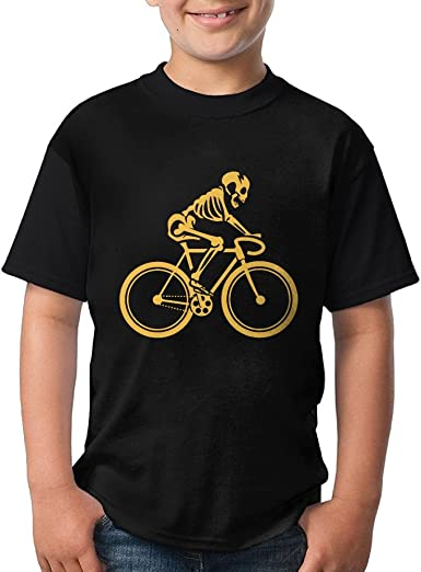 Skeleton Ride Bike Short Sleeve Crew-Neck T-Shirt TXYHDX11 Gift For Big Kid