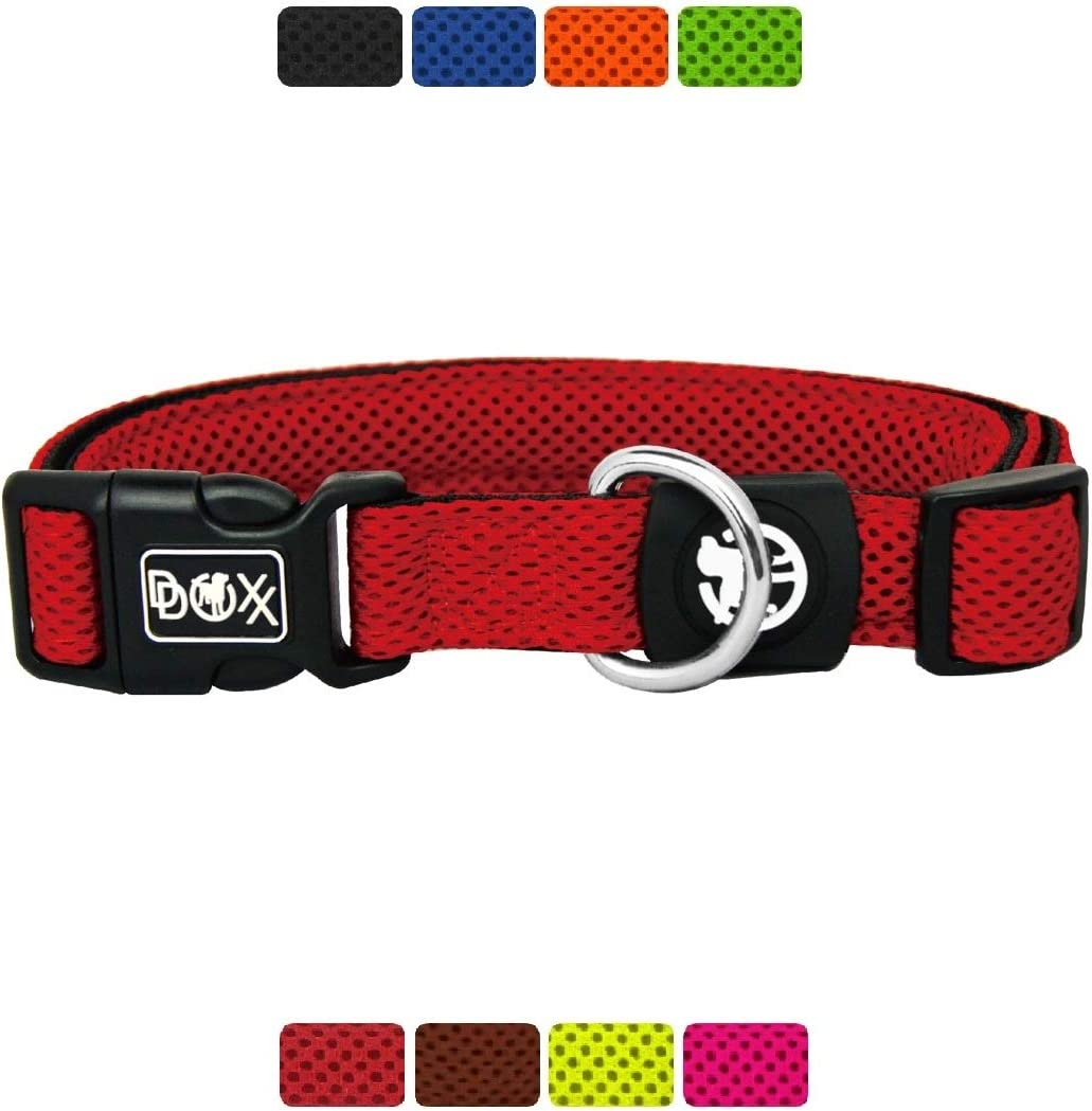 DDOXX Collar Perro Air Mesh, Ajustable, Acolchado | Diferentes Colores & Tamaños | para Perros Pequeño, Mediano y Grande | Collares Accesorios Gato Cachorro | Rojo, XS
