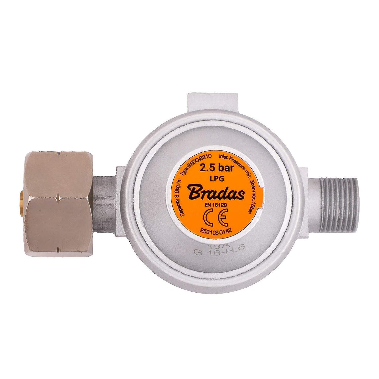 BFG Propane Regulador de Gas butano de Alta presi/ón 2,5 Bares, 8 kg//h, Barbacoa, Camping, Caravana, fontanera