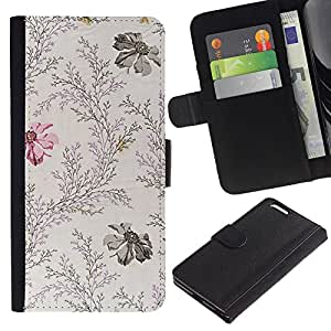 KLONGSHOP // Tirón de la caja Cartera de cuero con ranuras para tarjetas - Flores Femenino vintage Gentle - Apple Iphone 6 PLUS 5.5 //