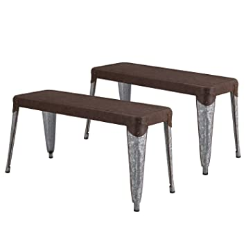 Joveco Sheet Metal Frame Galvanized Distressed Vintage Ancient Style Dining  Table Bench (Matterhorn Brown Metal