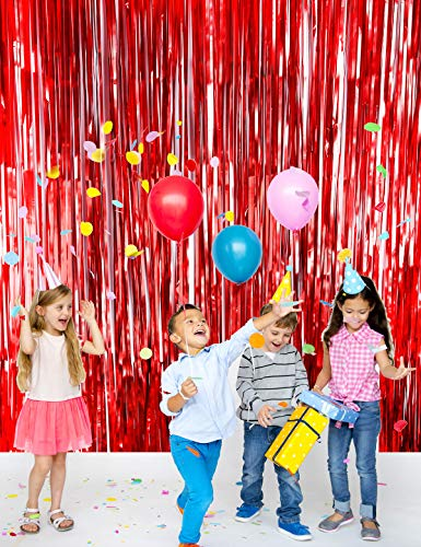 Metallic Tinsel Foil Fringe Curtains(2pack 3.2 ft x 9.8 ft) for Party Photo Backdrop(Matt Red Tinsel)]()