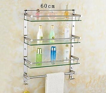 Badezimmer Regal Badezimmer gehärtetes Glas Regal, Edelstahl ...