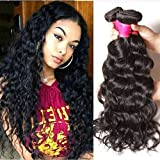 Ali Julia Hair Brazilian Natural Wave Hair Virgin Weave 3 Bundles 10a 100% Unprocessed Human Hair Weft Extensions 95-100g/pc Natural Color(8 10 12)
