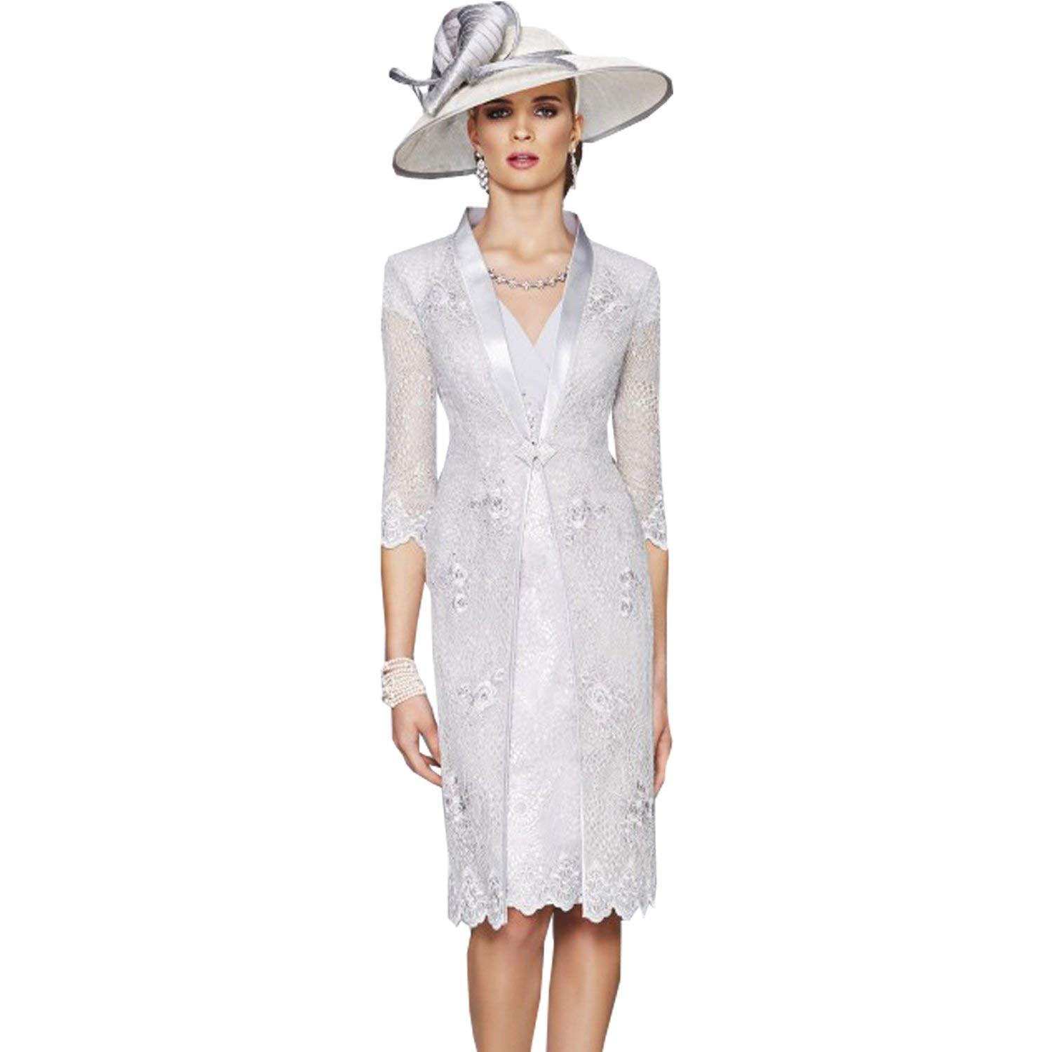 dressvip V-Neck Cap Sleeves Grey Chiffon Lace Sheath Mother of the Bride Dresses with Jacket