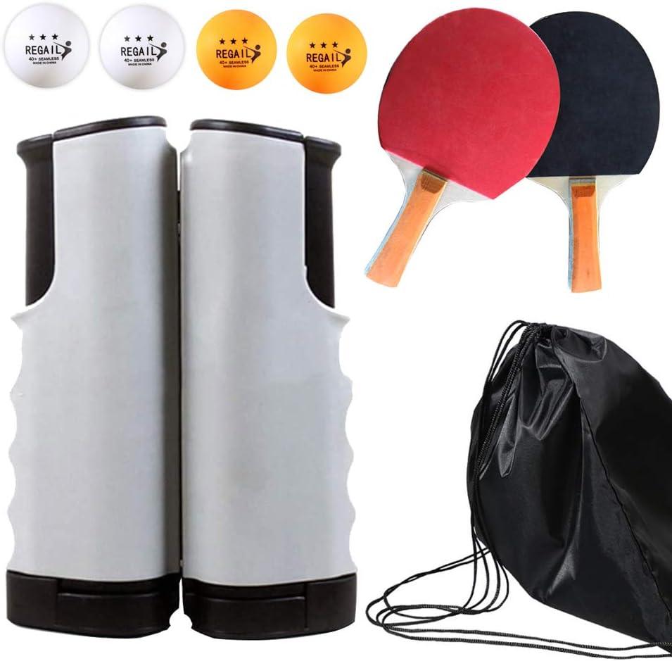 Gobesty Juego de Tenis de Mesa, Juego de Palos de Raqueta de Pelota de Ping Pong portátiles Juego de Redes de Tenis de Mesa retráctiles con 2 Palos y 4 Pelotas para niños Adultos Juego de Interior
