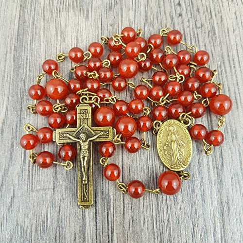 Red Carnelian Vintage style Rosary, Includes Gift (Adult Taurus Costumes)