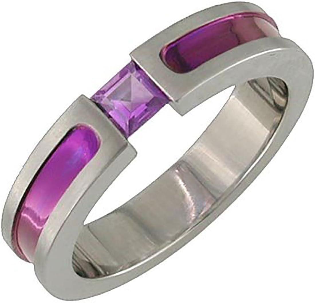 Wide Purple Titanium Band Purple Ring Wedding Band