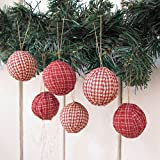 Jubilee Creative Studio Set of 12 Red Plaid Cotton Fabric 1.5 inch Ball Ornaments for Weddings & Christmas by