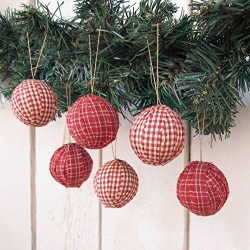 Set of 12 Red Plaid Cotton Fabric 1.5 inch Ball Ornaments for Weddings & Christmas by Jubilee Creative Studio (Plaid Christmas Ornaments)