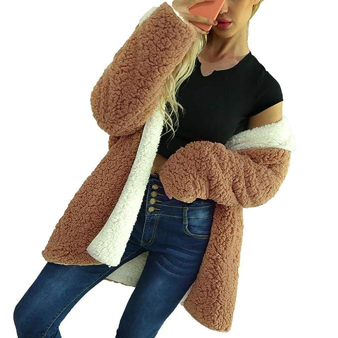 Abrigos de otoño Invierno, Dragon868 Señoras cálidas Lana Artificial dicroico Chaqueta Abrigos Mujeres(marrón