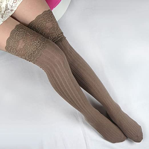 d83150c8364 Image Unavailable. Image not available for. Color  Lace Knitting Hosiery  Cotton Over Knee Thigh Stockings High Socks Pantyhose for women(navy blue