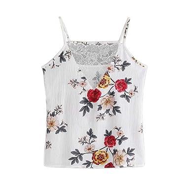 2b46d44601da Longra Women Lace Crop Vest Tops Tank Camisole - Summer Floral Print Chiffon  Sleeveless T-Shirt Blouse: Amazon.co.uk: Clothing