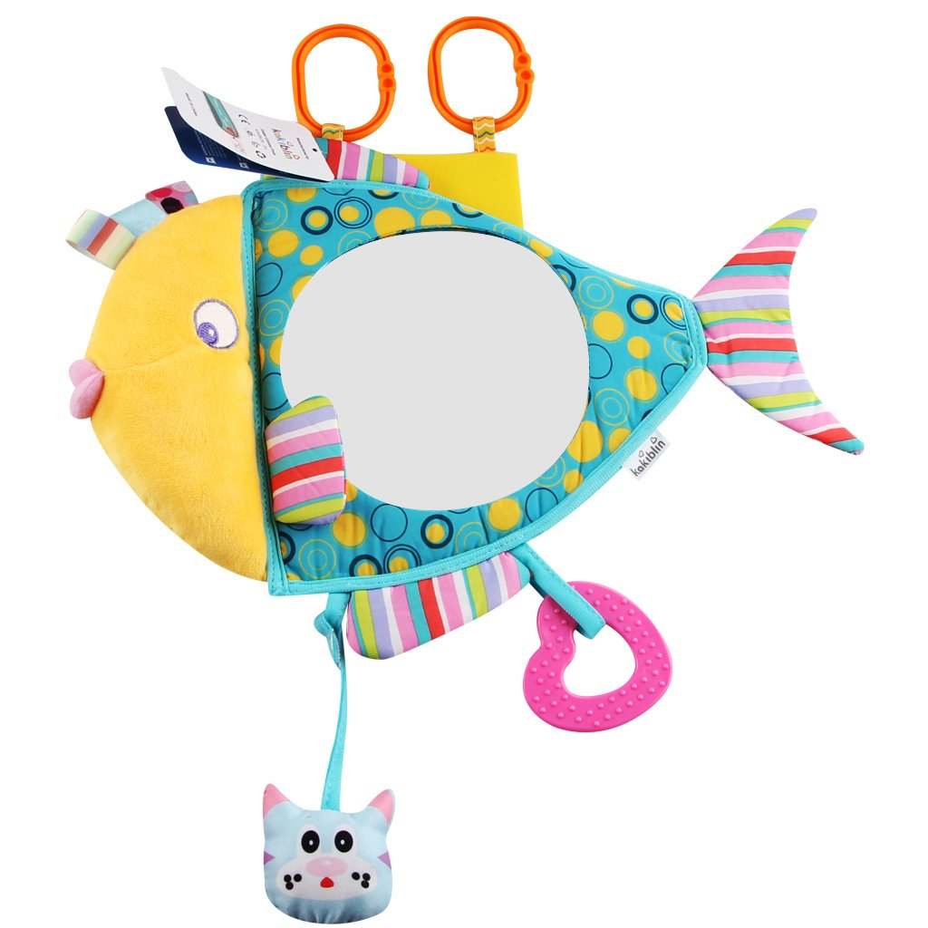 Kakiblin - Espejo de coche para bebé, efecto espejo inastillable y seguro, espejo retrovisor para coche o bebé, con forma de pez, visión clara, espejo para asiento de bebé