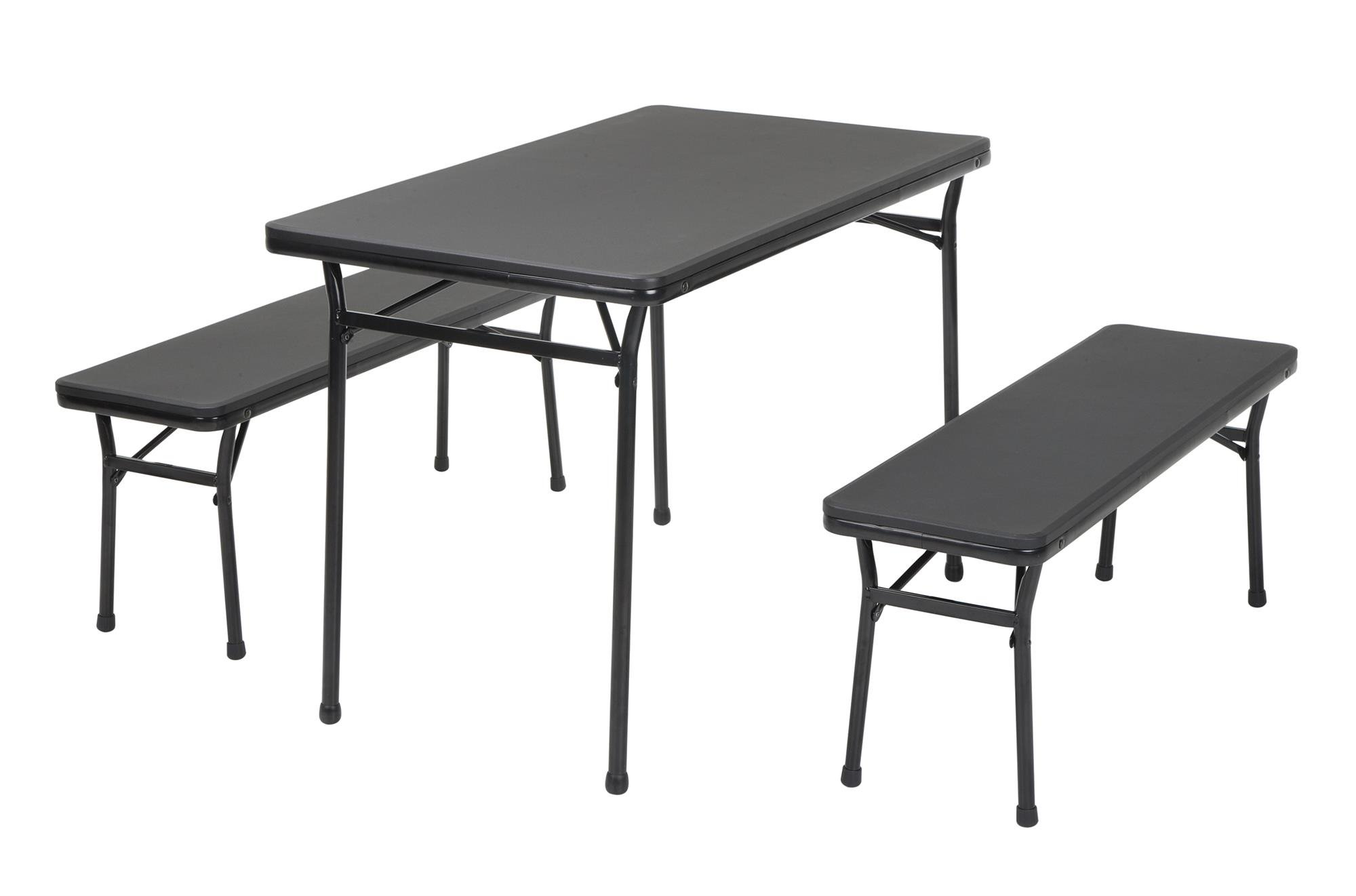 Cosco Products COSCO 3 Piece Indoor Outdoor Table and 2 Bench Tailgate Set, Black