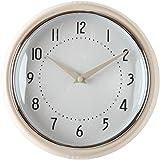 "Lily's Home Retro Kitchen Wall Clock, Large Dial Quartz Timepiece, Cream 9.5"""