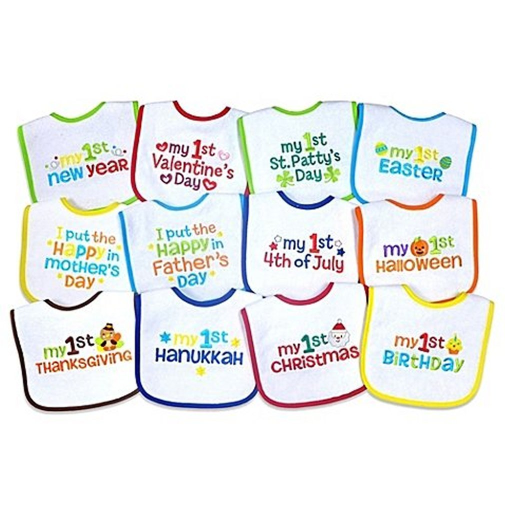 10 Holidays Hudson Baby Boy and Girl Festive Holiday Bibs 10-Pack