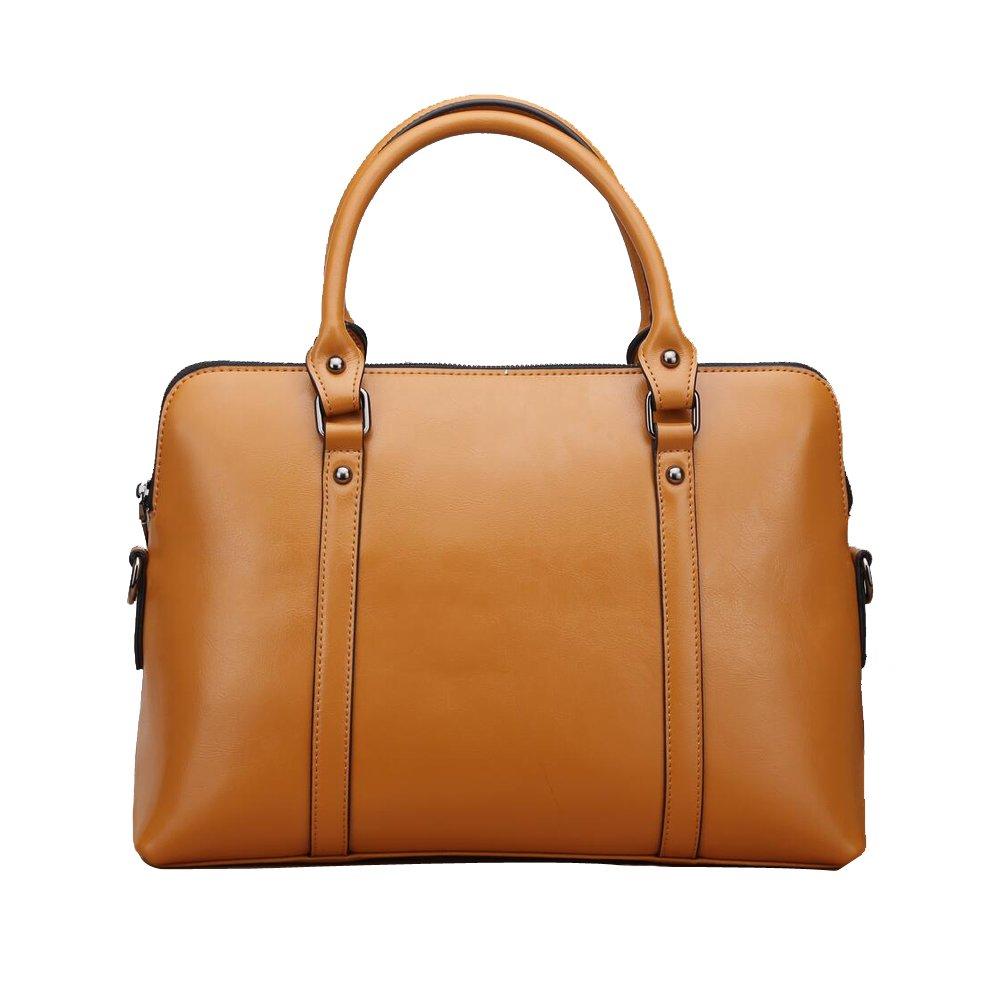 JUNBOSI 高品質の女性のバッグ - 本物の革のメッセンジャーバッグ大容量のバッグ - ビジネス女性のブリーフケース-14インチのラップトップバッグ B07CWS2PMH One Size|Brown Brown One Size