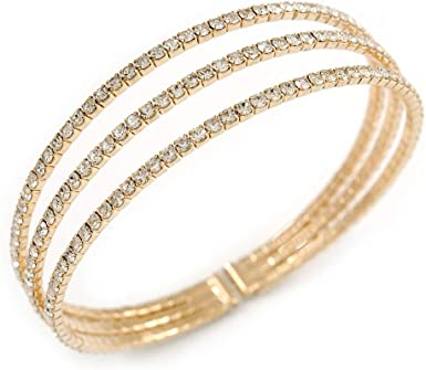 Transparent Glass Bead Flex Cuff Bracelet Adjustable