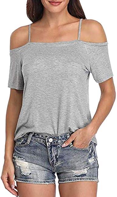 wyxhkj Blusa Mujer Manga Corta Verano, Camiseta Manga Corta Hombro Descubierto Color Sólido Ocasional Blusa Camisa Suelta Casual Delgado para Mujer: Amazon.es: Ropa y accesorios