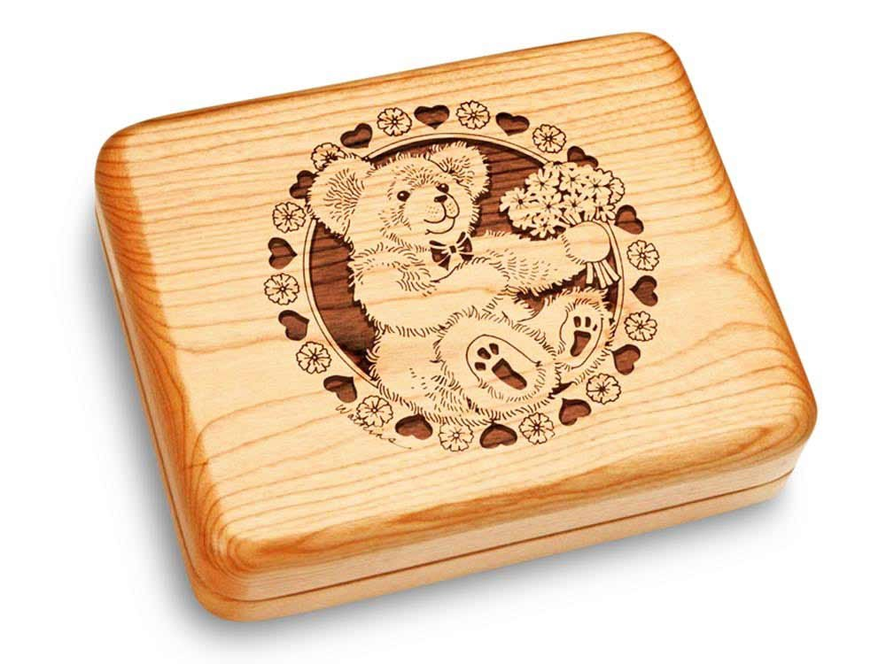 Music Box 6x5'' - Teddy & Flowers - Teddy Bear's Picnic by Heartwood Creations (Image #1)
