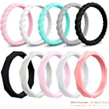 Elimoons Silicone Wedding Ring for Women, 10-Pack Thin Rubber Wedding Bands Stackable Braided Ring for Female, Colorful…