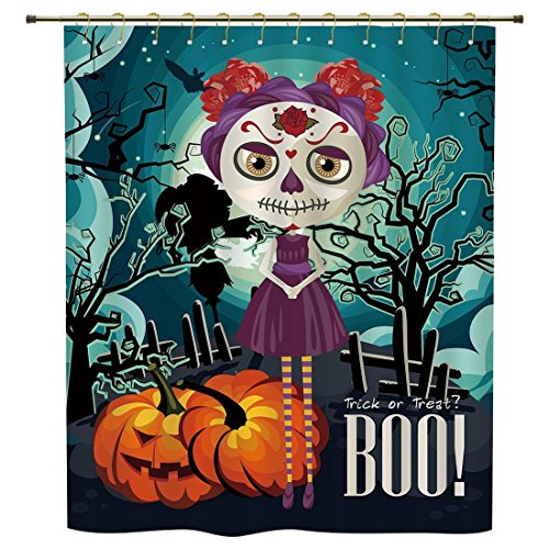 iPrint Shower Curtain,Halloween,Cartoon Girl with Sugar Skull Makeup Retro Seasonal Artwork Swirled Trees Boo Decorative,Multicolor,Polyester Shower Curtains Bathroom Decor Sets with (Do Your Own Halloween Makeup)