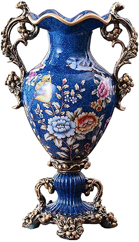 Retro Resin Flowers Vasesfor Living Dining Room Table Centerpiece Bedroom Office Hotel Home Decoration Hand Painted Tall Decorative Vase Best Wedding Gift Blue 33 23cm Amazon Ca Home Kitchen