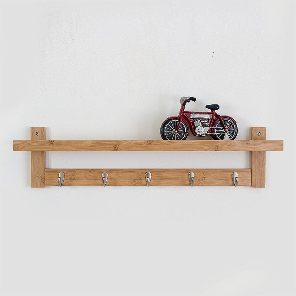 MMM- 74cm Estanterías de pared Simple sala de estar Ganchos de creatividad Rack de almacenamiento Partituras de pared de madera sólida conjunto - Top Boxes ( Color : Color madera )