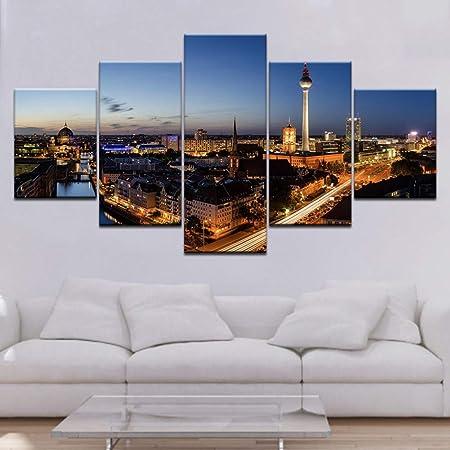 FJKYF 100×55cm Impreso Paisaje Nocturno de la Ciudad Lienzo ...