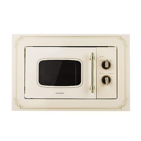 Klarstein Victoria 20 - Microondas , Diseño retro , 20 litros , Microondas de 800 W/Función grill de 1000 W , 3 funciones predeterminadas , Acero ...