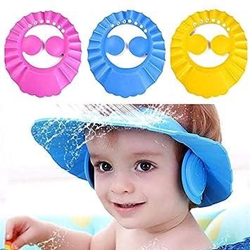 Amazon Com 3 Piece Baby Shower Cap Pink Blue Yellow Cute Baby Child Adjustable Shampoo Bath Protection Cap Waterproof Bath Shampoo Artifact Hat Baby