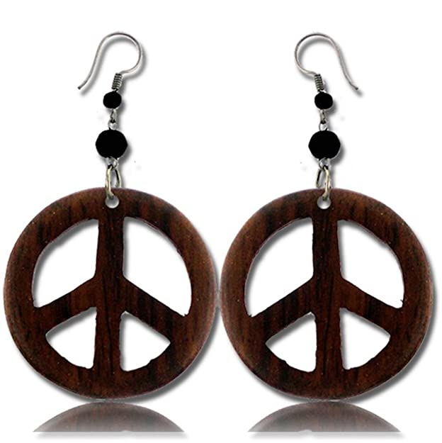1960s Jewelry Styles and Trends to Wear Earth Accessories Stainless Steel Organic Wood Dangle Peace Sign Earrings $12.79 AT vintagedancer.com