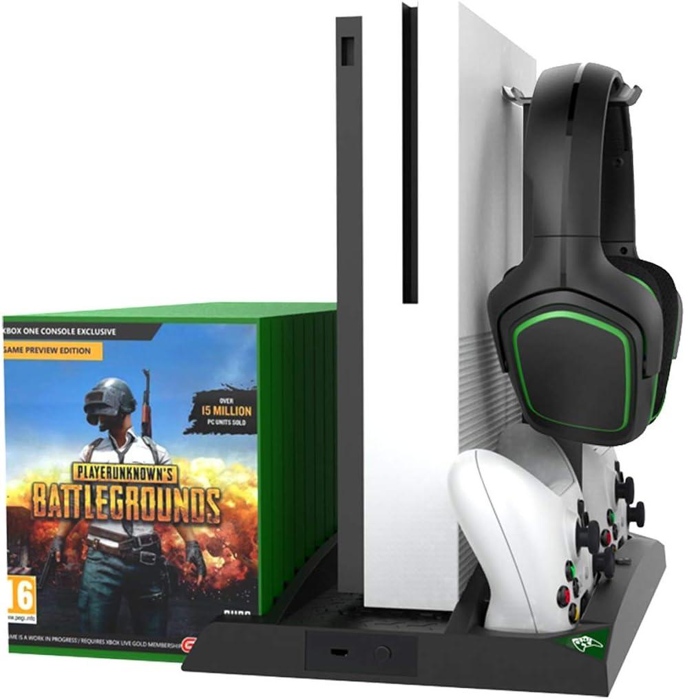 Queen.Y Regolatore di Ventola di Raffreddamento Verticale Multifunzione 6 in 1 Regolare Supporto di Ricarica per Dischi di Gioco Rack per Xbox One//X//S