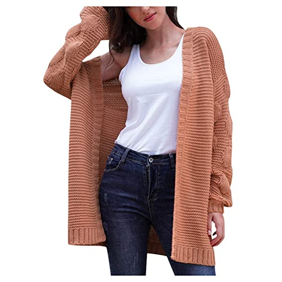 Buy Rosatro Women Cardigan Ladies Full Sleeves Shrug Solid Long Cardigan  Knitted Plush Sweater Coat Tops Orange at Amazon.in