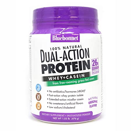 Bluebonnet Nutrition Dual Action Protein Powder, Original Flavor, 1.05 Pound
