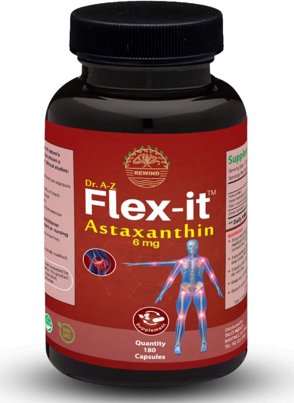 Astaxanthin 6mg Antioxidant derived from Non-GMO Haematococcus Pluvialis Microalgae Naturally Occurring Algae Helps As Sunscreen Pill, Eye, Immune by Flexit
