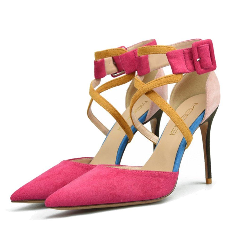 ShanLy Cinturino In Pelle Scamosciata Da Donna Con Cinturino In Pelle Con Cinturino Alla Caviglia,Pink/6CM-EU39/UK6.5  Pink/6CM
