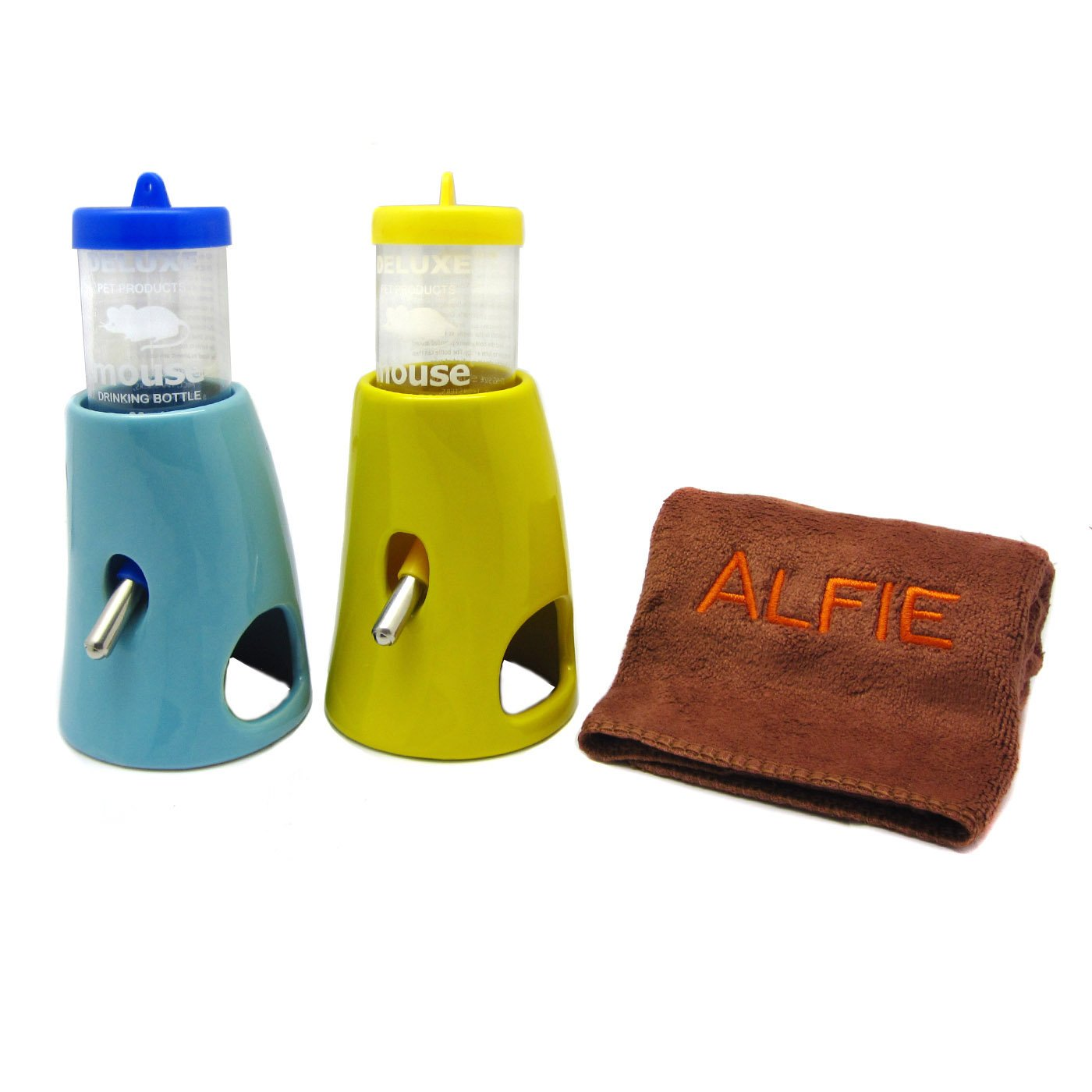 Alfie Pet by Petoga Couture - 2-in-1 Water Bottle with Ceramic Base Hut 2-Pieces Set with Microfiber Fast-Dry Washcloth for Small Animals like Dwarf Hamster and Mouse
