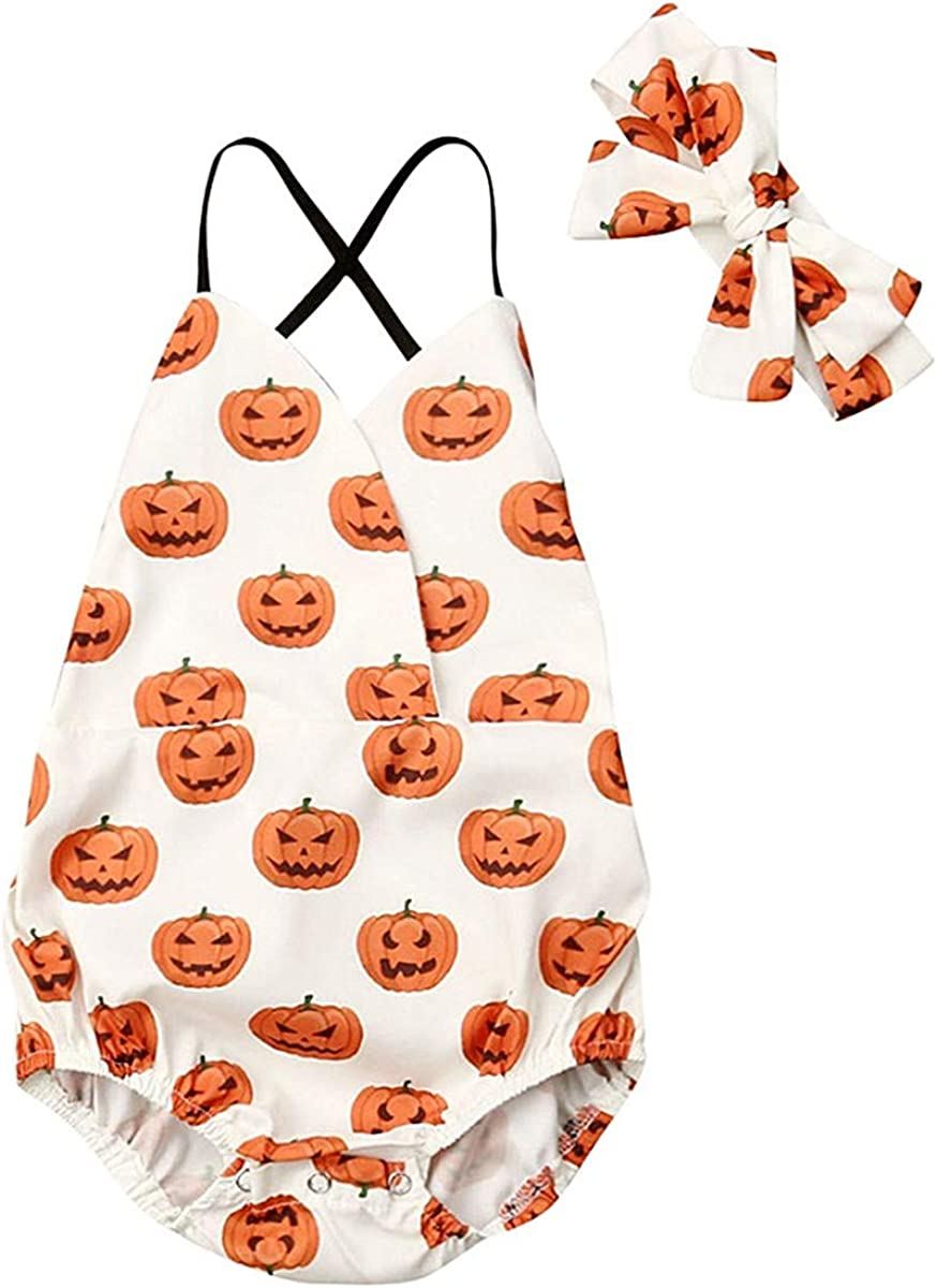 Baby Girl Halloween Costumes Outfits Clothes Ruffle Pumpkin Romper Bodysuit Jumpsuit Clothing