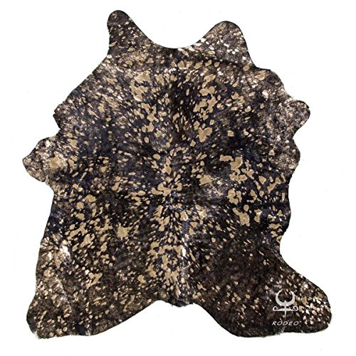 Metallic Leather Calfskin (RODEO Metallic Speckled on Black Based Small Area Decoration Cowhide Calf Skin Rug (Gold on Black))